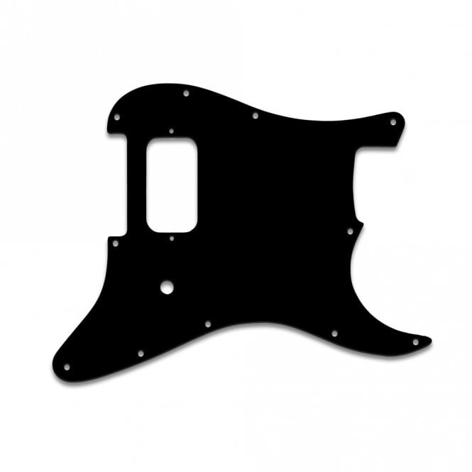 "WD Music Strat Tom Delonge - Thin Shiny Black .060"" / 1.52mm Thickness, No Bevelled Edge"