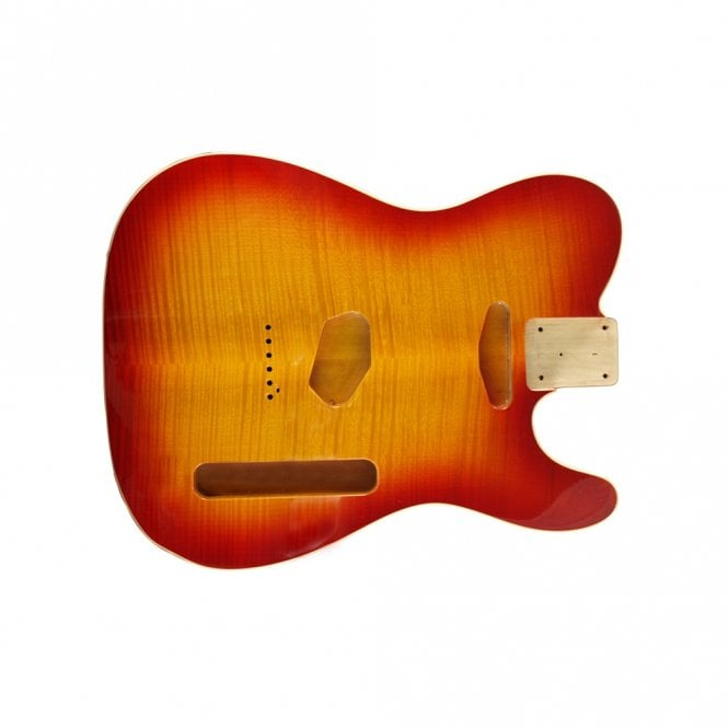 WD Music WD tele body bound flame cherry sunburst